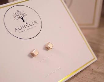 "Rosé gold earrings ""Square"""