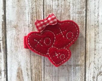 Valentine Hearts Hair Clip | Heart Hair Clip | Valentines Day Hair Clip | XO Hair Clip | Red Hearts Hair Clip | Hair Clip | Hair Accessories