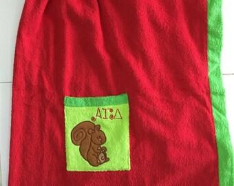 Alpha Gamma Delta Monogram Greek Towel Wrap