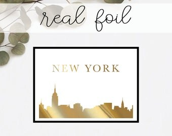 New York Landmark Print // Real Gold Foil // Minimal // Gold Foil Art Print // Home Decor // Modern Office Print // Fashion // Skyline