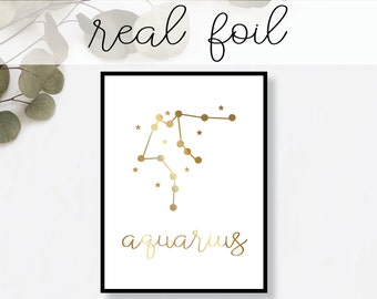 Aquarius Constellation Print // Real Gold Foil // Minimal // Gold Foil Print // Home Decor // Modern Print // Typography // Fashion Print