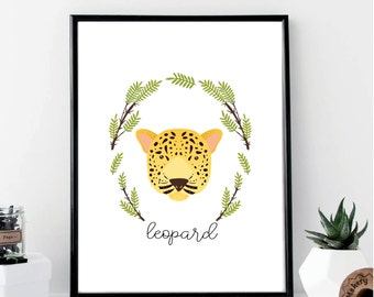 Watercolor Jungle Leopard Nursery Print // Minimalist Poster // Wall Art Poster // Nursery Poster // Typography Poster // Minimal Poster