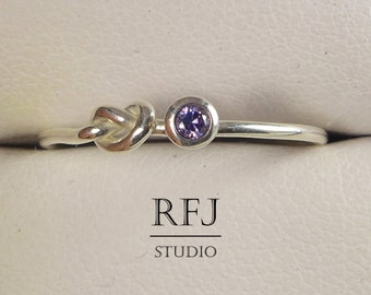 Knot Lab Amethyst Stacking Silver Ring, Purple CZ 2 mm Love Knot Sterling Ring Simulate Amethyst Gemstone Knotted Ring Purple CZ 925 Silver