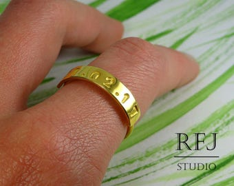 Yellow Gold Plated Personalized Date Ring, Medium Size Custom 24K Gold Plated Number Birthday Ring, Bible Gold RIng, Code Ring, Digital Ring