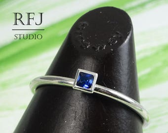 Square Synthetic Spinel Silver Ring, Blue Square Setting Stone Jewelry Princes Cut 2x2 mm Blue Spinel Stacked Classic Blue Engagement Rings