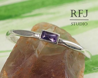 Delicate Baguette Cut Lab Amethyst Faceted Silver Ring, February Birthstone 3x1.5mm Purple Cubic Zirconia Baguette Stacking Faceted CZ Ring