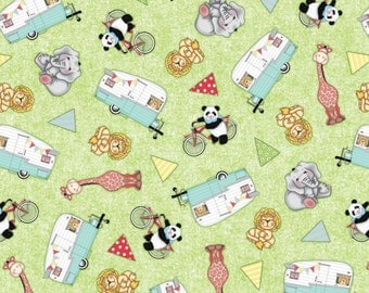 """Bazooples Fabric, Jungle Animals Fabric: Bazooples Campout Toss Animal Campers Green 100% cotton Fabric by the yard 36""""x43"""" (C366)"""