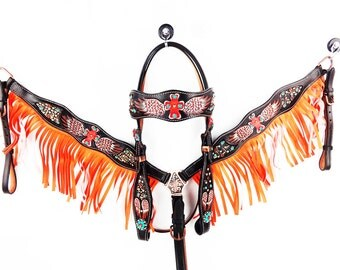 Orange Fringe Hand Painted Cross And Wings Hand Tooled Barrel Racer Leather Headstall Western Horse Trail Bridle Breast Collar Plate Set