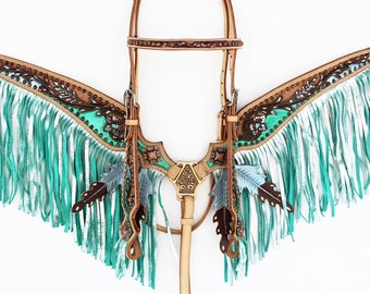 Teal Metallic Silver Fringe Leaf Tooled Leather Headstall Western Horse Trail Bridle Breast Collar Plate Bling Crystals Tack Set