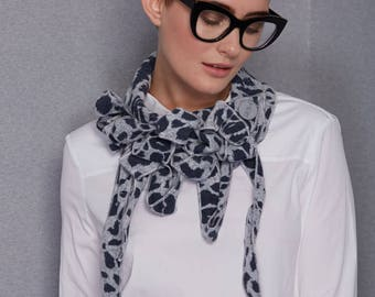 Eva - Grey and Blue Animal Print Collar, Super Soft Scarf, Unusual Accessories