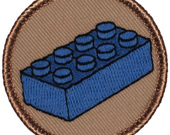 Blue Toy Block Patch (807) 2 Inch Diameter Embroidered Patch