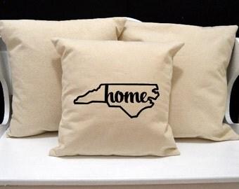 North Carolina Home Pillow, North Carolina Pillow, home pillow, pillow gift, North Carolina gift, state pillow, NC pillow, 20x20 pillow