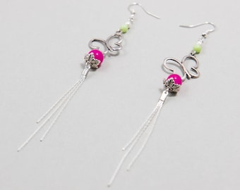 "Earrings Ethnic Romantic ''Acidulous"" Pink Fuschia and Silver"