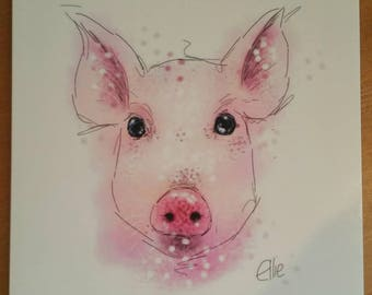 Pig card // pig birthday card // pig greetings card // piglet card // farmyard card // farm animal cards // pig gifts // piglet gifts