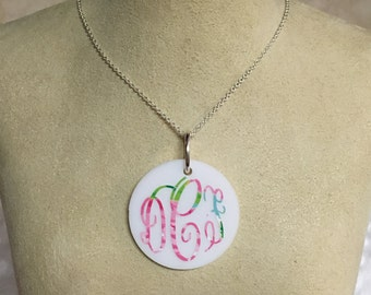 Lilly Pulitzer Vinyl Monogram Necklace - Personalized Necklace - First Impressions - Crown Jewel