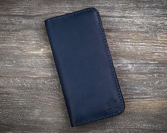 Navy wallet men wallet leather holder personalized wallets phone wallet card wallet long wallet men holder blue wallet cell phone wallet