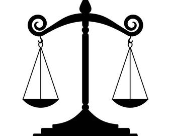 Scales Of Justice #1 Lawyer Attorney Law Balance Police Judge Court Justice System .SVG .EPS .PNG Digital Clipart Vector Cricut Cut Cutting