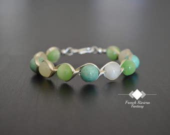 Be Green with this stunning bracelet all summer, natural stones and silver plated wire Bangle