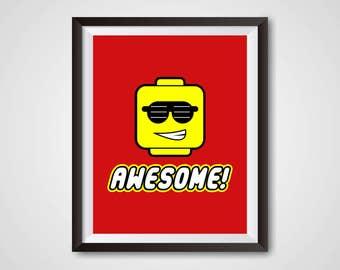 Everything Is Awesome, Lego Decor, Digital Print, Digital Download, LEGO  Kids Room