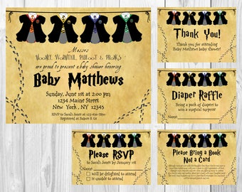 Harry Potter Hogwarts Baby Shower Invitation, RSVP Cards, Book Request, Diaper Raffle and Thank You Insert