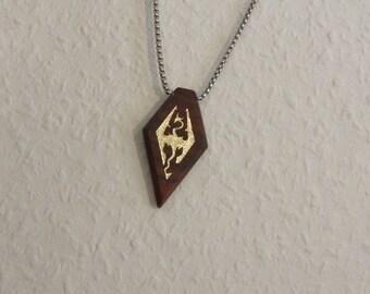 Custom Skyrim / Dragon Age / crest symbol 24k gold on wood pendant / necklace