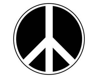 "Peace Symbol White 1"" pinback button"