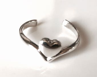 Sterling Silver Love Heart Toe Ring