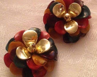 Anniversary Sale Vintage Multi Color Large Cluster Earrings