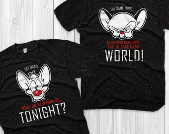 Pinky and the Brain Couple Shirts Retro Pinky and the Brain Matching Shirts Vacation Shirts Gift for him and her ( SOLD SEPARATELY )