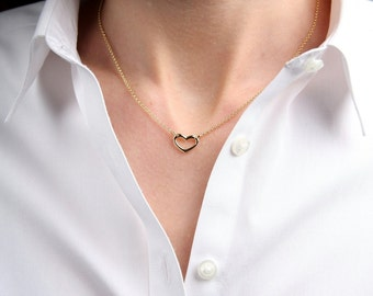 SweetHeart Necklace, Heart Necklace, Gold Heart, Gift for Her,Gift for a Special Day,Anniversary, Italian Jewelry, Handmade in Tuscany, 0581
