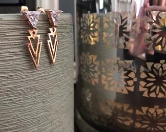 Rose gold triangle earrings rose gold earrings CZ earrings drop earrings dangle earrings geometric earrings gift for her