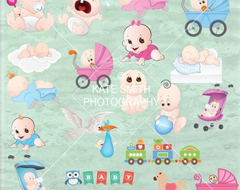 50% OFF! Newborn Baby Clipart Set, Instant Download, 300ppi, Baby Shower, Scrapbook, Cards, Invites ect
