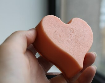 Orange sherbet heart soap