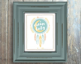 Boho Baby Illustration Art Print, Instant Download, Digital Art Print, Dream Catcher, Dream Baby