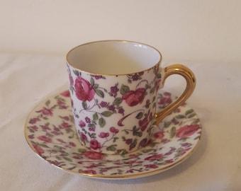 ON SALE, Vintage teacup, antique teacup, flowered teacup, Japanese Teacup, Espresso Cup, Rose Teacup, teacup and saucer, demitasse cup,