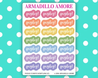 Payday! Cursive Script Stickers {21 Fancy Matte or Glossy Planner Stickers, Double Rainbow Theme} | #16-147