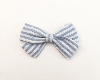 Blue Striped Bow - Classic Bow - Baby Bows - Baby Hair Clips - Baby Headbands - Toddler Headband - Baby Hair Bows - Hair Bows