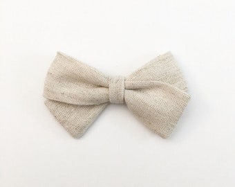 Oatmeal Linen Classic Bow - Baby Bows - Baby Hair Clips - Baby Headbands - Toddler Headband - Baby Hair Bows - Hair Bows