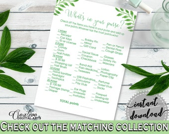Whats In Your Purse in Green Watercolor Leaves Baby Shower Gender Neutral Theme, purse game, botanical green, digital download - Y8X33