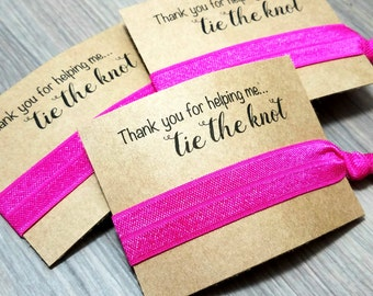 Thank You For Helping Me Tie The Knot | Bachelorette Party Favors | Bachelorette Party Hair Ties | Thank you Hair Tie Favors | Bridal Shower