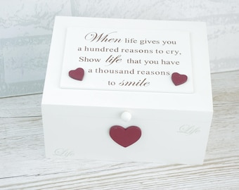 Memory Box Keepsakes Chest When Life Gives Your A Hundred Reasons To Cry F1886