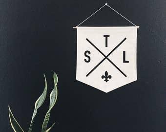 STL Saint Louis Crossed Arrows Banner, Handmade Banner, Wall Hanging, Flag, St. Louis, Fleur-de-lis
