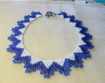 Beaded blue and white necklace handmade