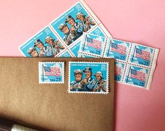 Vintage Mail//American Flag Stamps