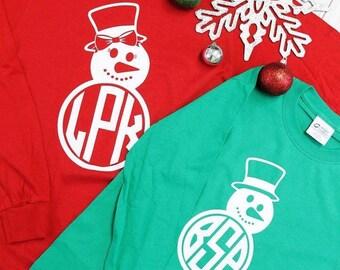 Snowman monogrammed shirt