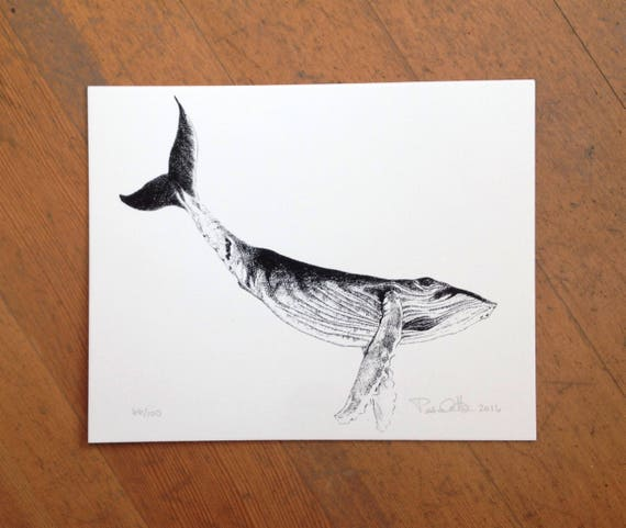 Humpback whale hand printed on cotton paper