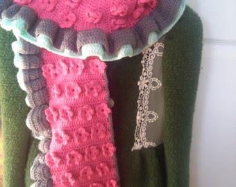 Crochet Flower Blossom Scarf, Flower Scarf, Ruffle Scarf, Crochet Ruffle Scarf, Scarf for Spring