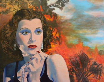 Large huge Hedy Lamarr bushfire original painting on canvas Jane Ianniello retro art landscape red Hollywood noir noirscapes dramatic movies