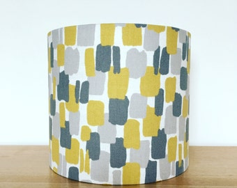 Handmade Fabric Lampshade, 'Sundowner' by Clarke & Clarke. Grey, mustard and ochre