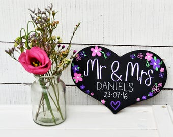 Mr & Mrs personalized chalkboard - wedding decoration, wedding gift, handmade, custom chalkboard